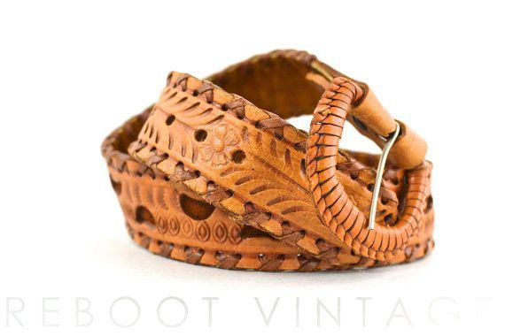 Vintage Boho Wide Tooled Bench Crafted Leather Belt  L M  29 30 31 32 on Etsy, $27.00