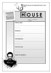 English worksheet: Dr. House MD Episode 2 Season 1