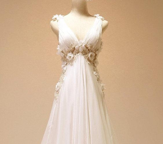 Vintage Chiffon Beach Wedding Dress Bridal Gown Deep V Neck Open Back See through Backless Wedding Dress Lace Trim Flowers Dress with Train. $309.00, via Etsy.