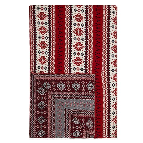 Buy John Lewis Fair Isle Knit Throw, Red / White Online at johnlewis.com