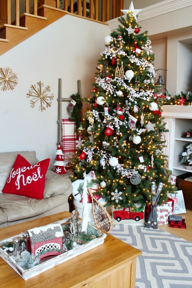 Beautiful Christmas home tour with red and whites and a cozy, Christmas cabin feel.  Lots of Christmas decorating ideas for your home!