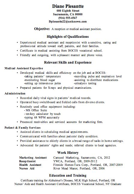 Resume Sample Receptionist Or Medical Assistant Medical