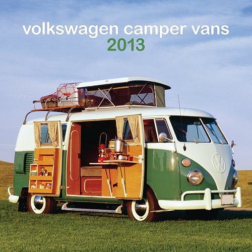 """VW Camper Vans Mini Wall Calendar: """"Ahead of its time"""" doesn't begin to describe the vehicular phenomenon known as the VW Camper. Stylish and dependable with lots of charming amenities, the Camper might well be called the ultimate vehicle. Get a blast from the past with this trendy wall calendar.  http://www.calendars.com/European-Car/VW-Camper-Vans-2013-Mini-Wall-Calendar/prod201300005105/?categoryId=cat00690=cat00690#"""