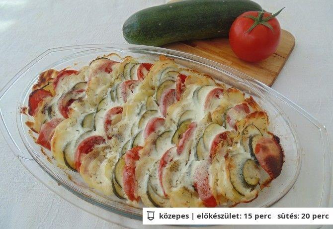 Burgonyával, paradicsommal rakott cukkini (vegetáriánus), Nosalty recept