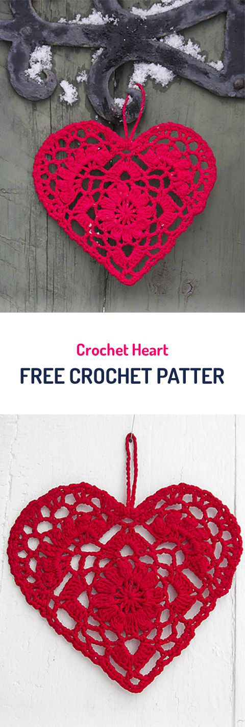 Crochet Heart Free Crochet Pattern #crochet #heart #yarn #crafts #diy #homemade #handmade