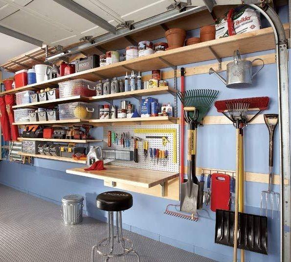 Wonderful Garage Shelving Ideas Wall and Ceiling: Charming Blue Wooden Style Adjustable Garage Shelving Ideas Prefab ~ buyrogue.com Garage Designs Inspiration