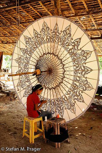An incredibly beautiful Pathein umbrella in #Myanmar, #Burma! #travel