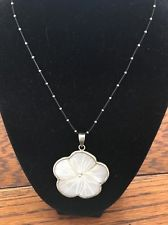 CARVED MOTHER OF PEARL FLOWER 925 STERLING SILVER pendant NECKLACE - https://barskydiamonds.com/necklaces/