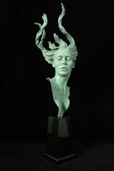 Bronze Portrait Sculptures / Commission or Bespoke or Customised sculpture by artist Carl Payne titled: 'Demeter (Bust Head Beautiful Goddess nude statue/sculpture/statuette)'