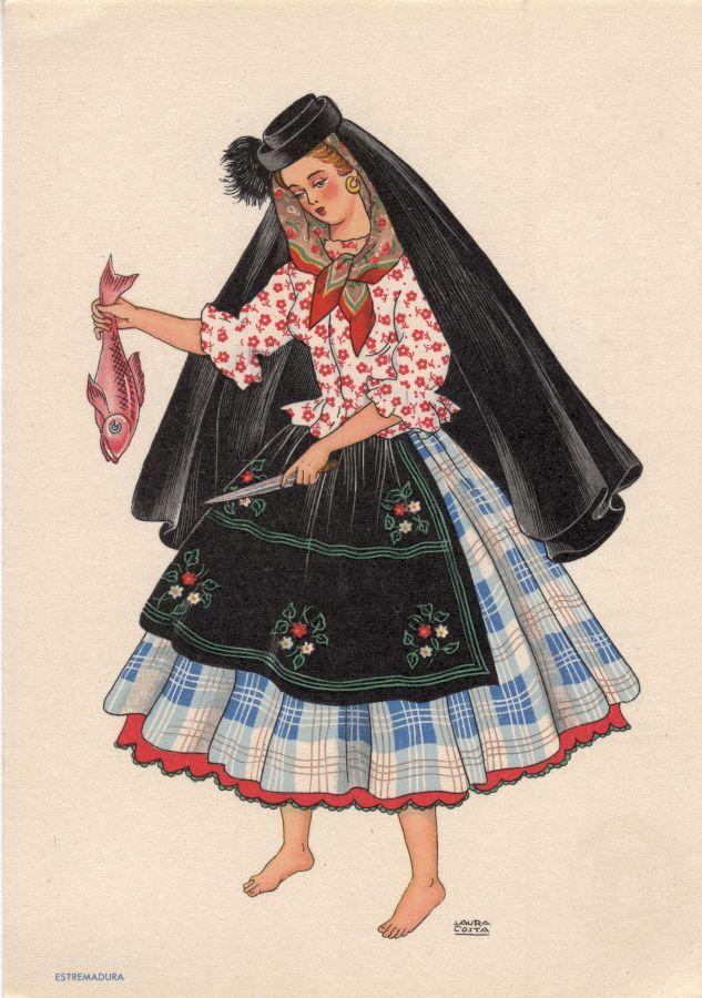 OLIVA - Saia de fazenda de grandes quadros sobre numerosas saias e saiotes. Blusa de - Lit. Nacional - S/D - Dimensões: 15x10,5 cm - Colecção M. F. Silva- Varina