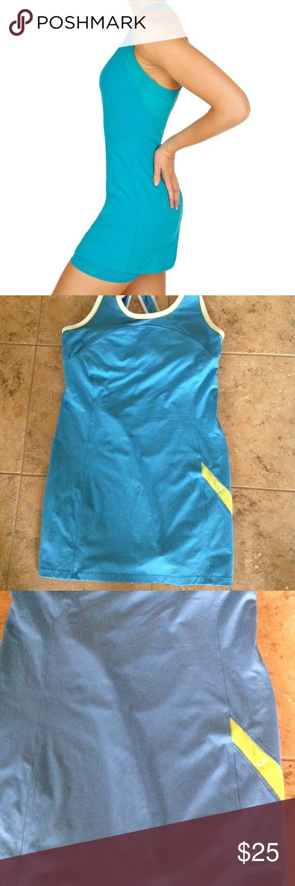 💎💎💎Asics Athletic Dress💎💎💎 💎💎💎💎Asics athletic criss cross back dress. In a teal and vibrant yellow color. The dress has a built in bra foe support. It's made from 85% polyester and 15% spandex. It's in excellent condition.💎💎💎💎 Asics Dresses