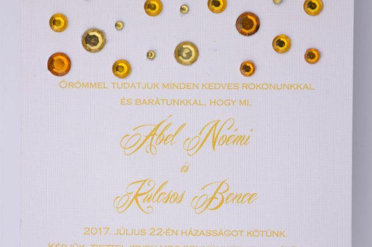 Aranyeső esküvői meghívó, meghívó, strassz esküvői meghívó, sárga esküvői meghívó, sannaeskuvoimeghivo, wedding card