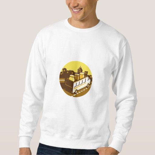 Beer Flight Glass On Van Cityscape Circle Retro Pullover Sweatshirt. Illustration of beer flight glass each holding a different beer type on top of van set inside circle with cityscape in the background done in retro style. #Illustration #BeerFlightGlassOnVan