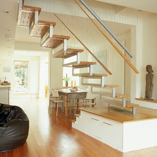 Captivating Living/dining Room With Wooden Floor And Bespoke Staircase Part 20