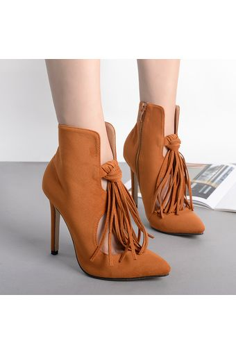 Women's Pointed Toe Stiletto Ankle Boots Korean Shoes with Tassel Brown | ราคา: ฿900.00 | Brand: Crape Myrtle | See info: http://www.topsellershoes.com/product/4335/womens-pointed-toe-stiletto-ankle-boots-korean-shoes-with-tassel-brown