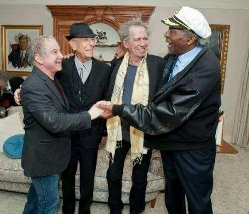 Пол Саймон (75 лет), Леонард Коэн (82 года), Кит Ричардс (72 года) поздравляют Чака Берри с Днём Рождения (90 лет!)  (c) Morozevich Victor