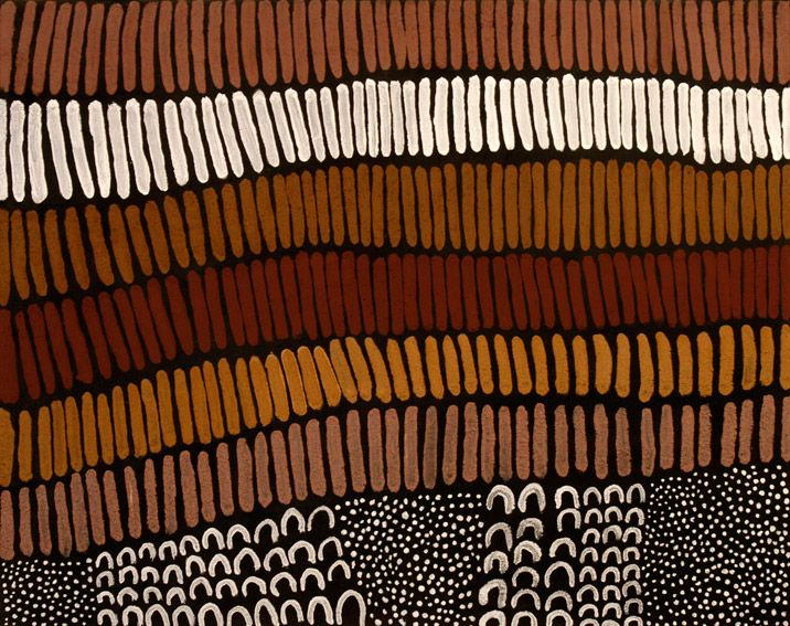 Lena Nyadbi / Dayiwul ngarranggarni  2009 natural ochre and pigments on canvas  80 × 100cm