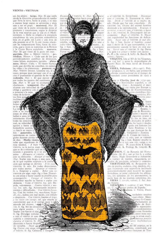Halloween Victoriaanse vleermuis kostuum vampier meisje afdrukken op een vel uit een vintage boek Upcycled woordenlijst pagina Upcycled boek Art Upcycled Print  De pagina is ongeveer 6.4 x9.6 inch, 16.5x24.4cm.  Uw drukwerk zal worden verpakt in een doorzichtige plastic hoes, met een kartonnen invoegen om de afdrukken terwijl het wordt verzonden.  De werkelijke pagina u ontvangt wellicht anders dan die in de lijst weergegeven, maar het komt uit hetzelfde boek. Onthoud dat we werken met…