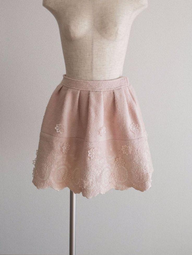 🎀LIZ LISA🎀Scalloped Flower Wool Mix Pink Skirt Japan M Romantic Lolita Hime #LizLisa #Scalloped #Casual