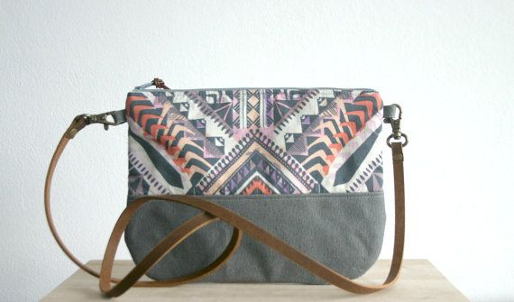 Aztec bag, Aztec print, Tribal print, Small handbag ,Clutch Purse, Pastel, Geometric print