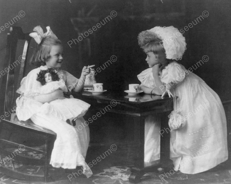 Victorian Little Girls & Doll Tea Party! 8x10 Reprint Of Old Photo