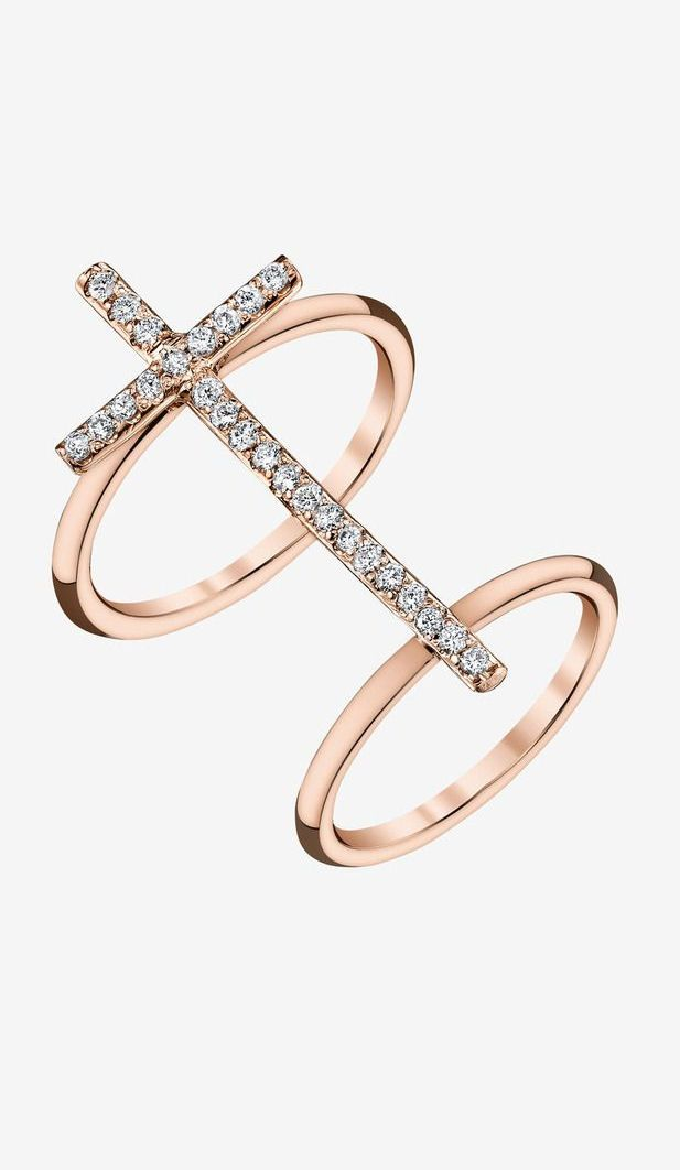 Rose Gold Diamond Cross Ring. Can't get enough rose gold