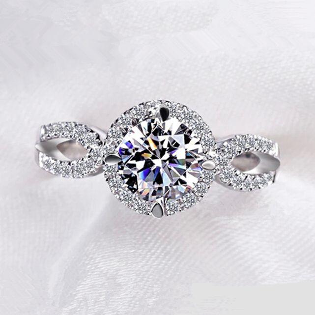 Anillos para mujeres 2ct piedra redonda CZ diamante brillante oro Blanco plateó el anillo de bodas anillos de Compromiso joyería de moda VSR076