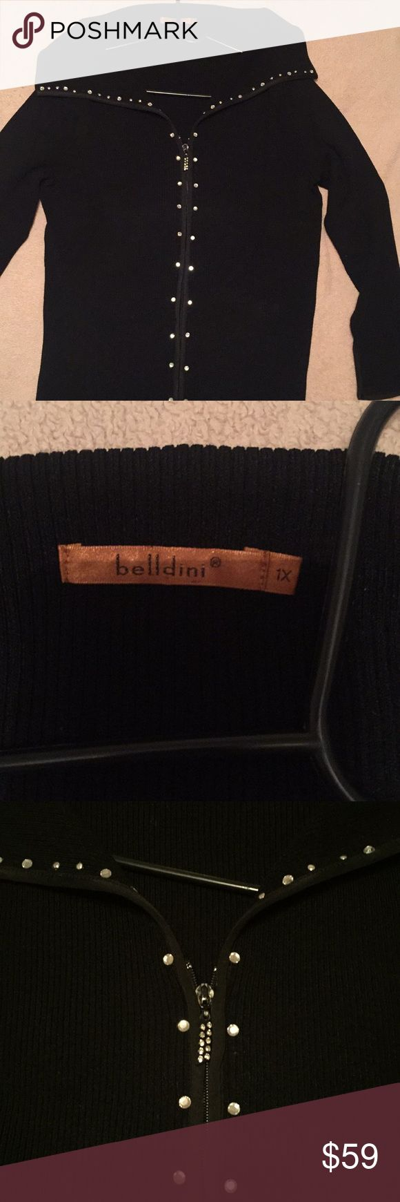 Dressy sweater Dressy zip up sweater. Rhinestone trim and extra long Belldini Sweaters Cardigans