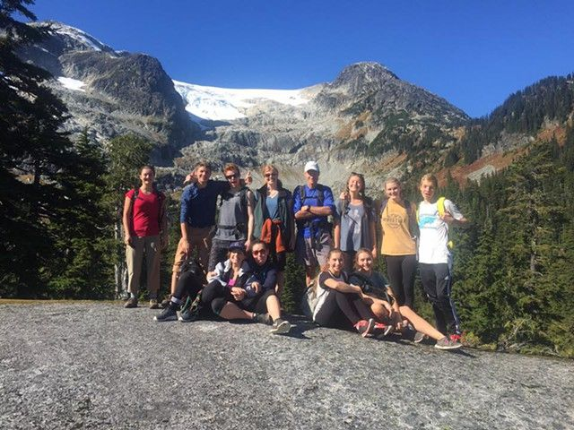 PHOTO SUBMITTED - DEEP APPRECIATION Students in Emma Mulling's Environmental Stewardship course during a nature hike.