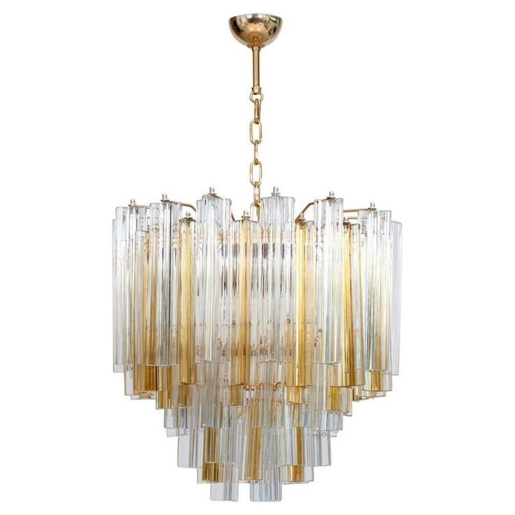 Italian Venetian Chandelier in Murano Glass with Trifogli Elements by Venini | From a unique collection of antique and modern chandeliers and pendants at https://www.1stdibs.com/furniture/lighting/chandeliers-pendant-lights/