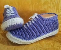 Purple crochet slippers that look like Vans - pattern