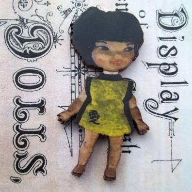 Fenella - Wooden Doll Pin Brooch