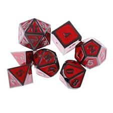 7x Polyhedral Dice Die Alloy for Traditional Board Game Party Role Play Red