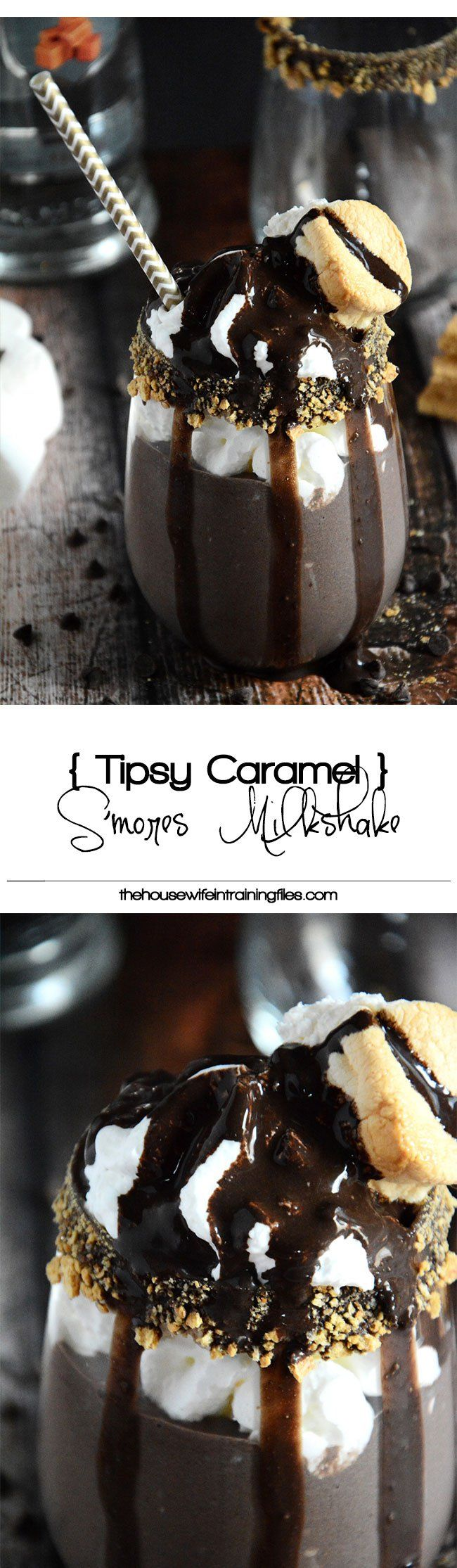 An adult s'mores milkshake updates the campfire favorite but in a dessert cocktail form! Toasted marshmallows, caramel vodka & a chocolate drizzle make this a rich and creamy treat!