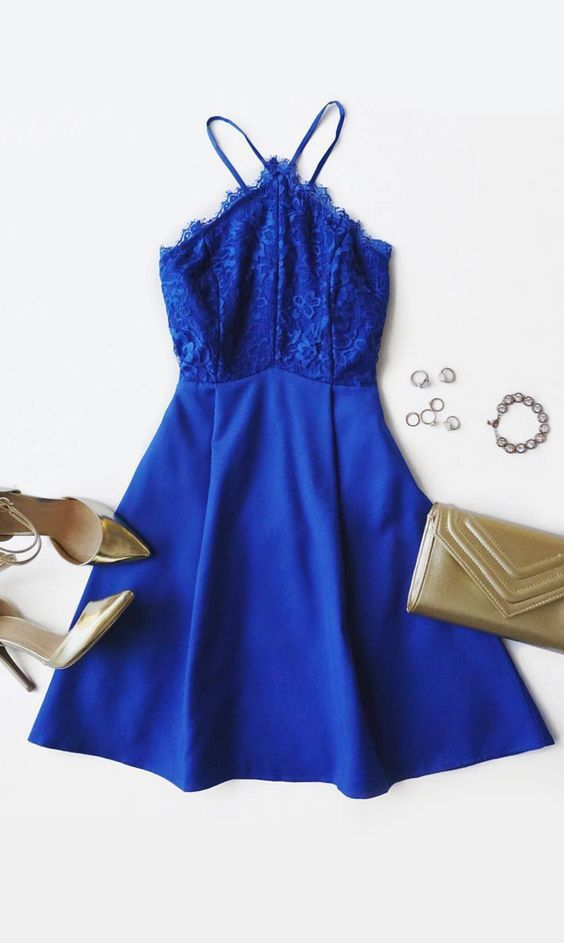 Royal Blue Homecoming Dress,Short Prom Dresses,Lace Homecoming Gowns,Fitted