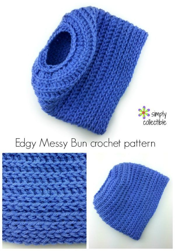 Edgy Messy Bun Hat crochet pattern by Celina Lane, SimplyCollectibleCrochet.com
