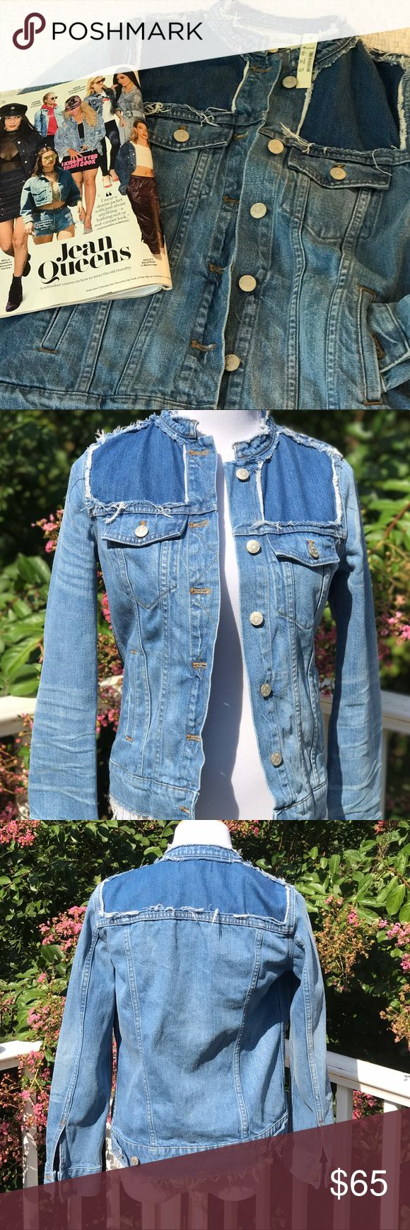 🎉 HP 🎉 Madewell collarless denim jacket NWT Awesome Madewell collarless denim jacket, NWT, size small. Great details with the patchwork, some but not too much and the fraying is great and not too much as well. The arms are also not too tight. I translate this to a size 2/4 when I put it on. Madewell Jackets & Coats Jean Jackets