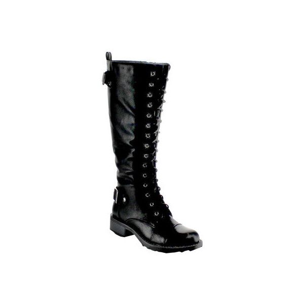 Women's Beston Combat-01 - Black Faux Leather Combat Boots ($55) ❤ liked on Polyvore featuring shoes, boots, black, knee-high boots, knee high lace up boots, army combat boots, combat boots, combat booties and military combat boots