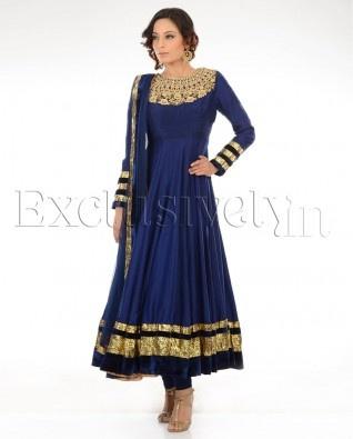 #Exclusivelyin, Navy Blue Suit With Zari Yoke, pure elegance!