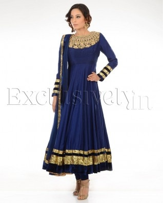 #Exclusivelyin, Navy Blue Suit With Zari Yoke, pure elegance!
