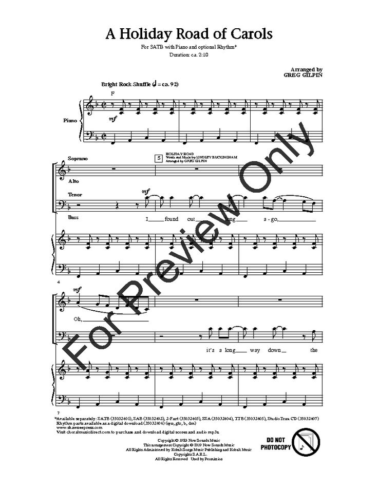 A Holiday Road of Carols Holiday road, Choral sheet