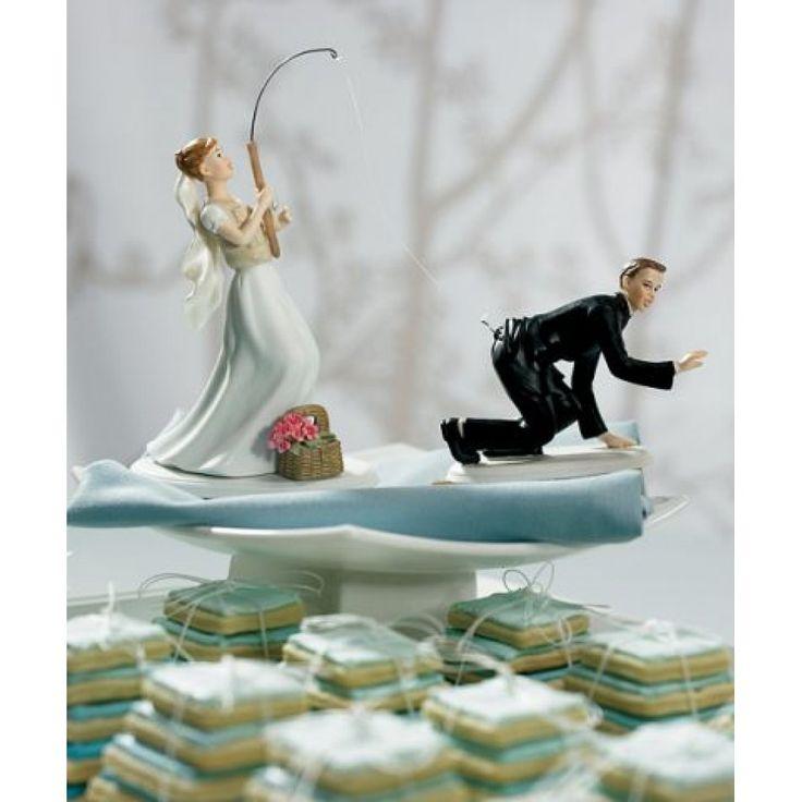 Gone Fishing Porcelain Wedding Cake Topper