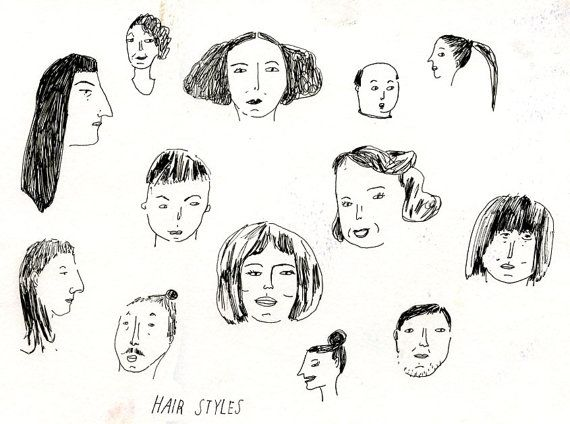 Hair Styles drawing on paper by ElizabethGraeber on Etsy