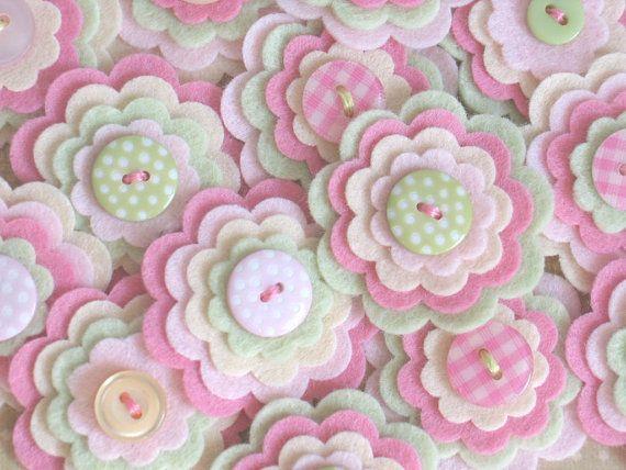 ROSE PETAL - Set of 3 Handmade Felt Flower Embellishments in Pinks, Cream and Soft Green / Felt Applique via Etsy