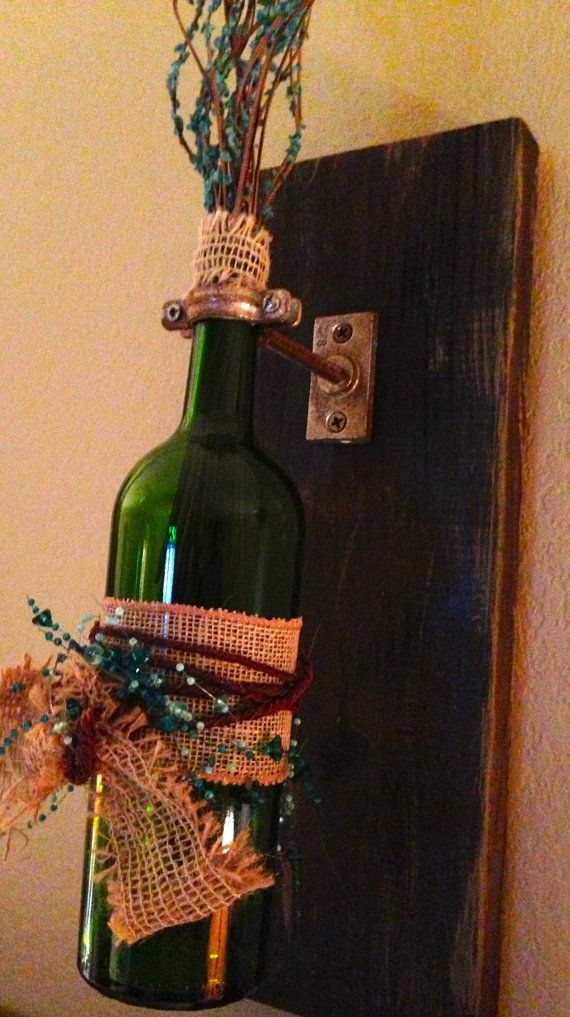 Bottle wall sconces 75.00/for 3 Wall hanging by AdellesAvenue