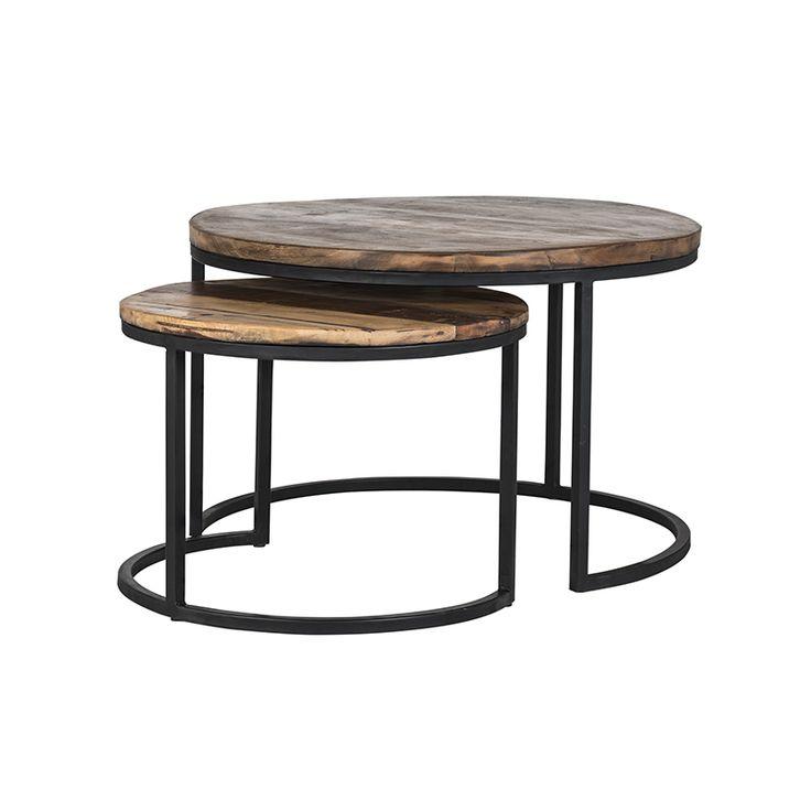 Dubbele ronde bijzettafel van zwart staal en mangohout, perfect in elkaar passend met een doorsnede van 76 en 56cm en respectievelijk 45 en 40cm hoog
