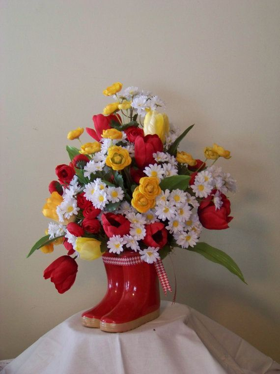 Spring Floral Arrangement Country Red White Floral