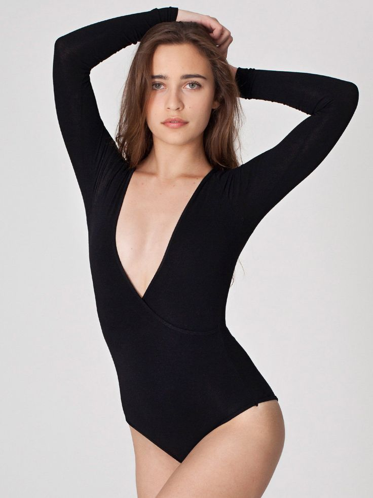 Flattering on all bodies. Pulling up the hips lengthens legs, Long sleeves cover the arms (a problem area for many gals), wear with or without a bra depending on the level of support needed. Fab hoisted up a little at the back for sexy booty shots.  Cotton Spandex Jersey Cross-V Bodysuit by American Apparel