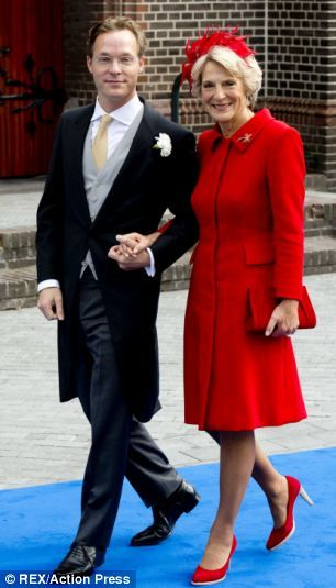 Prince Jaime was seen arriving at the church hand clutching his mother Princess Irene's hand