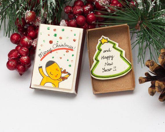 Cute Deer Christmas Card / Matchbox / Reindeer Christmas Greeting Card/ Personalized Holiday Card/ Handwriting New Year Card/ Gift box